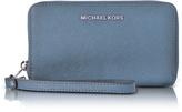 Michael Kors Jet Set Travel Large Flat MF Denim Saffiano Leather Phone Case/Wallet