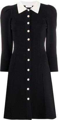 Sandro contrast collar A-line dress