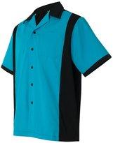 Hilton Men's Retro Cruiser Bowling Shirt, Turquoise