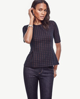 Ann Taylor Petite Quilted Houndstooth Peplum Top