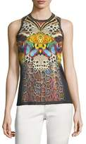 Sleeveless Butterfly-Print Wool-Cashmere Knit Shell Top