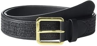 Lauren Ralph Lauren Fashion Raffia Roller Buckle Casual Wide (Black/Black) Women's Belts