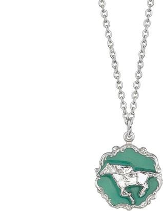 1928 Silver-Tone Turquoise Color Enamel Horse Pendant Necklace
