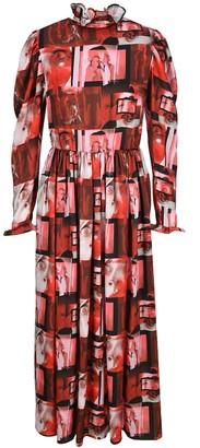 MSGM Graphic Print Ruffled Maxi Dress