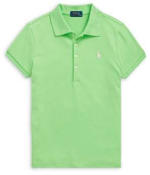 Ralph Lauren Childrenswear Girl's Short-Sleeve Stretch-Cotton Polo