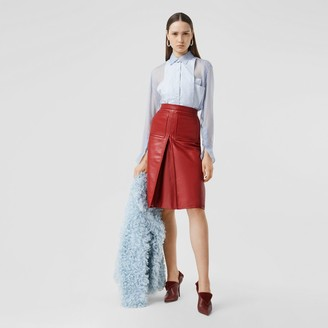 Burberry Box-pleat Detail Leather A-line Skirt