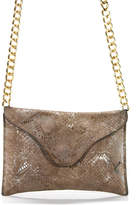 JJ Winters Brown Metallic Snakeskin Print Suede Chain Strap Crossbody Handbag