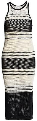 Frame Open Knit Striped Tank Dress