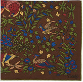 Drakes Drake's Men's Bird-Of-Paradise-Print Twill Pocket Square-BROWN