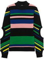 J.W.Anderson Striped Ribbed Merino Wool Turtleneck Sweater - Black