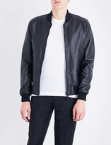 Sandro Stand-collar leather bomber jacket