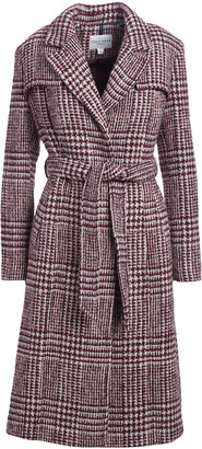Cole Haan Women's Trench Coats [BUR]BURGUNDY - Burgundy Plaid Prince of Wales Wool-Blend Trench Coat - Women