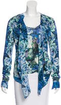 Roberto Cavalli Floral Print Silk Cardigan Set