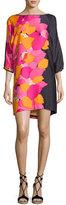 Trina Turk Floral 3/4-Sleeve Shift Dress, Dark Purple