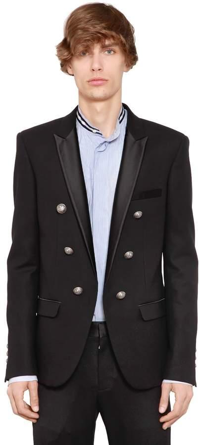 Balmain 6 Button Wool Jacket W/ Satin Lapels