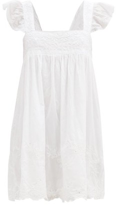 Juliet Dunn Hand-embroidered Cotton-voile Mini Dress - White