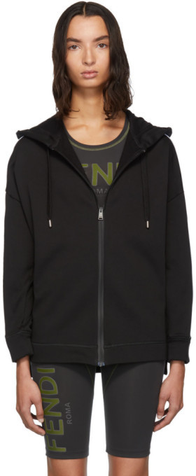 Fendi Black Logo Zip-Up Hoodie