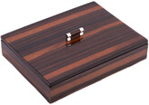 Bey-Berk Bey Berk Ebony Lacquered Burl Wood Tray With Cover