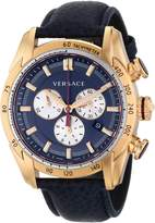 Versace Men's VDB030014 V-Ray Rose Gold-Tone Watch With Leather Strap