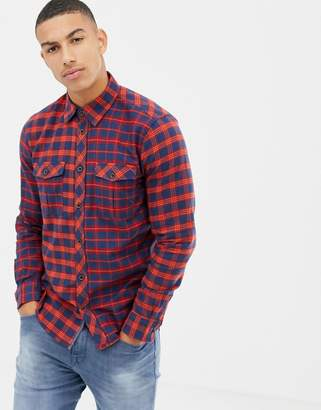 Tom Tailor regular fit contrast check shirt in red and navy
