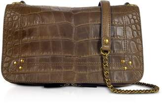 Jerome Dreyfuss Bobi Khaki Croco Embossed Leather Shoulder Bag