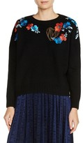 Maje Women's Floral Embroidered Sweater