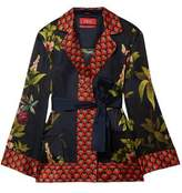 F.R.S For Restless Sleepers Giocasta Printed Hammered-silk Wrap Blouse
