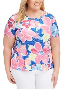 Alfred Dunner Plus Size Laguna Beach Floral-Print Top