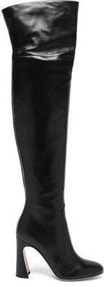 Gianvito Rossi Curve-heel 100 Leather Knee-high Boots - Black