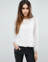 Traffic People Woven Top Pleat Detail Top