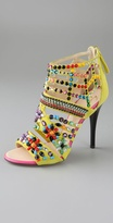 Shoes Strass Suede Caged Sandals