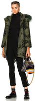 Fendi Wool Illusion Coat with Detachable Fox Trim Hood in Green,Abstract.