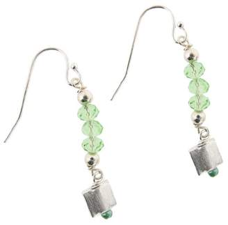 Earth Sterling Green Glass Bead Earrings with Square Drops, Silver
