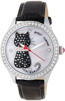 Betsey Johnson Women's Cat Crystal Embossed Leather Watch