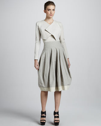 Donna Karan Contrast-Hem Bubble Skirt, Oyster