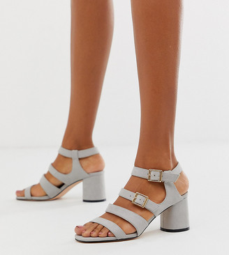 Faith Exclusive buckle block heeled sandals-Grey