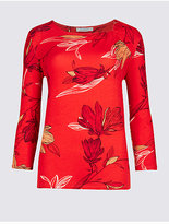 Classic Floral Print Round Neck 3/4 Sleeve T-Shirt