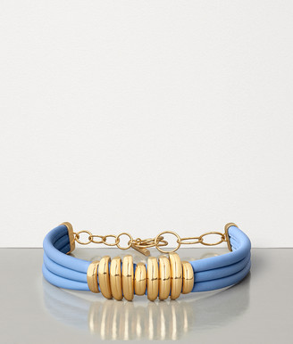 Bottega Veneta Necklace In Gold Plated Silver And Nappa