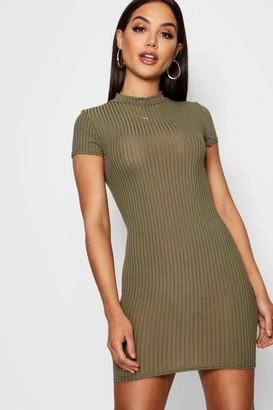 boohoo High Neck Cap Sleeve Rib Bodycon Dress