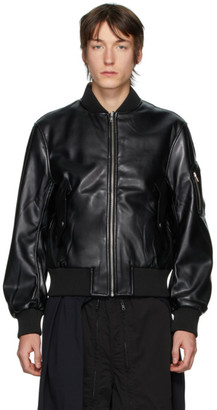Random Identities Black Faux-Leather Bomber Jacket