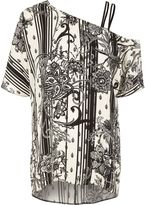 River Island Womens Black floral print one shoulder top