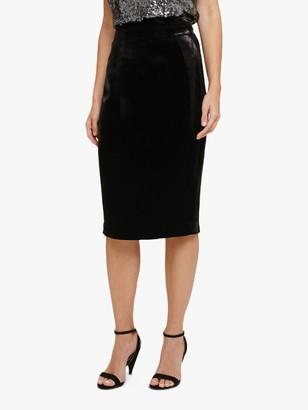 Phase Eight Violetta Velvet Skirt, Black