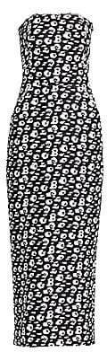 Brandon Maxwell Women's Strapless Jacquard Animal-Print Tea-Length Dress