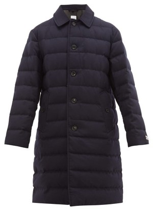 Burberry Down Filled Wool Coat - Mens - Navy