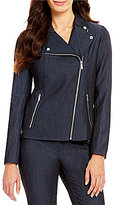Calvin Klein Luxe Stretch Dressy Denim Suiting Asymmetric Zip Moto Jacket