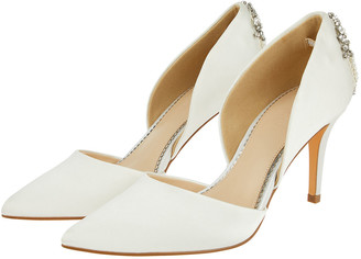 Under Armour Evie Satin Bridal Court Shoes with Embellishments Ivory