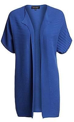 St. John Women's Variegated Rib-Knit Short-Sleeve Cardigan