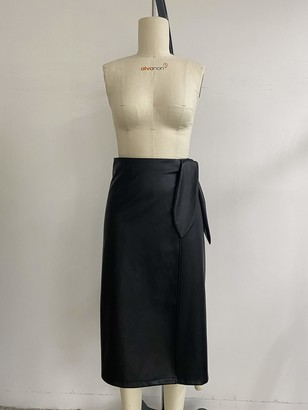 The Drop Women's Manon Faux Leather Wrap Front Midi Skirt