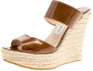 Jimmy Choo Brown Patent Leather Espadrille Wedge Slides Size 38