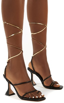 Public Desire Uk Evalyn Lace Up Detail Mid Height Heels